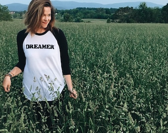 Sale Black and White Tri-blend Unisex DREAMER Baseball Raglan Tee. Dreamer Tee. Ready to ship.