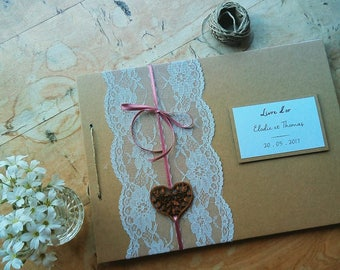 Wedding guest book, rustic, kraft and lace custom guest book