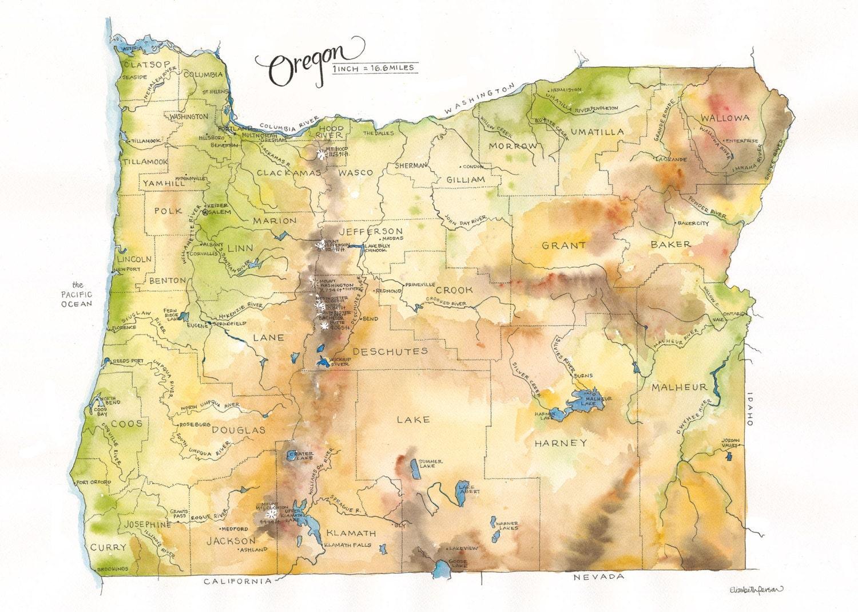 Oregon State Map Watercolor Illustration Portland Ashland
