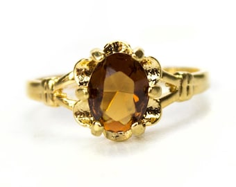 Vintage 1970s Smoky Topaz Solitaire Ring 18k Yellow Gold Electroplated November Birthstone Made in USA #R555