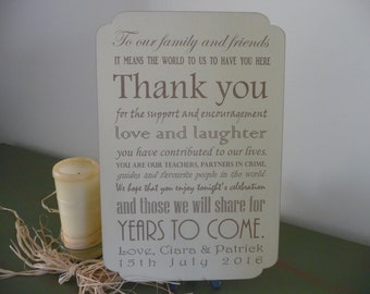 Shabby Wedding Thank You Guest Sign, Wooden Custom Thank You Plaque, Personalised Wedding Reception Sign