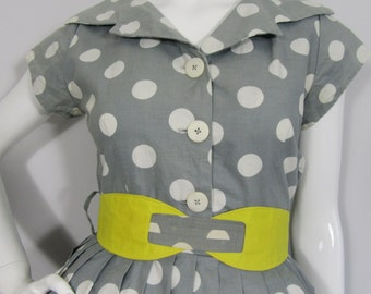1950s Vintage Rockabilly Large Spot Dress, Ascot/Goodwood/National