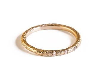Diamond Engagement Ring, Three Stone Diamond Ring, 14K Gold Ring, , Engagement Ring.