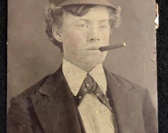 Tintype of Young Man with Lit Cigar in His Mouth Circa 1890 J. E. Jeffres Photographer York PA