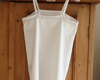 Vintage white cotton French chemise with lace trim with vintage hanger