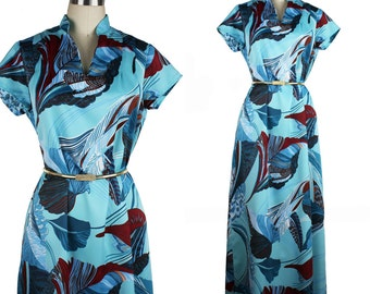 Vintage Turquoise Teal & Burgundy Large Leaf Print Maxi Dress