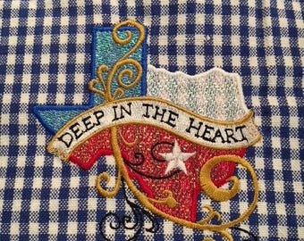 Blue Checked Kitchen Towel with Deep in the Heart of Texas