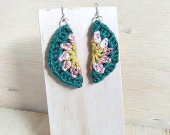 Crochet earrings. Half Circle earrings. Granny Square earrings. Green pink yellow. Wool earrings. Whimsical earrings. Sterling silver