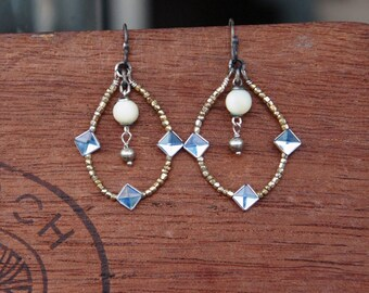 Antique Assemblage Earrings with 19th Century Glass Seed Beads, Blue Montees and Mother of Pearl