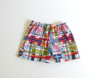 Madras check toddler boy shorts, infant shorts for spring, baby photo prop, Easter outfit boy baby, boys summer shorts - made to order