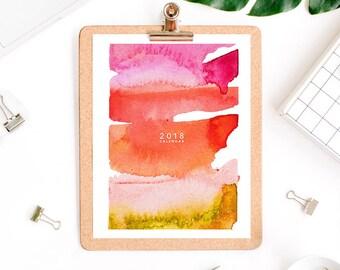 2018 Wall Calendar, Printable Calendar, Colorful Calendar, Watercolor Calendar, 2018 Calendar, Desk, Abstract Art Print, Creative Calendar