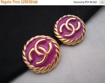 Reserved SOLD Do NOT Buy Authentic CHANEL Earrings Pink Button Style Couture Designer Signed Jewelry Vintage Statement AParis France