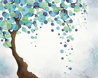 16 x 20 Green Blue Turquoise Wall Decor Tree Print, Bedroom Wall Art for Office Wall Decor, Tree Art Print, Nature Wall Art (10)