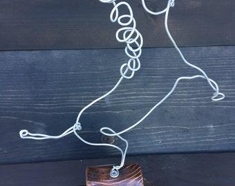 wire sculpture, wire art, animal sculpture, horse, reclaimed wood, folk art