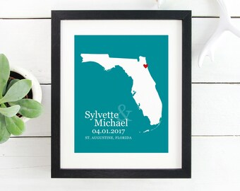 Florida State Map Art, Florida Map, Florida Poster, Housewarming Gift, Newly Family Gift, Florida Print, Adoption Gift -  Art Print