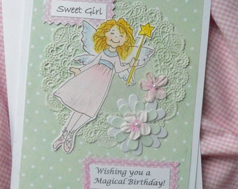 Fairy birthday card etsy magic fairy birthday card for a sweet girl bookmarktalkfo Image collections