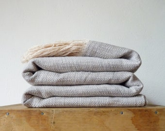 Pearl grey linen and cotton throw blanket