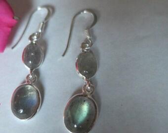 Labradorite earrings; 92.5 sterling silver