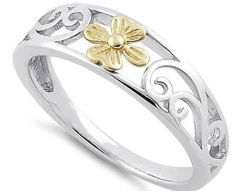 Small Gold Flower Ring - Sterling Silver & 14k Gold