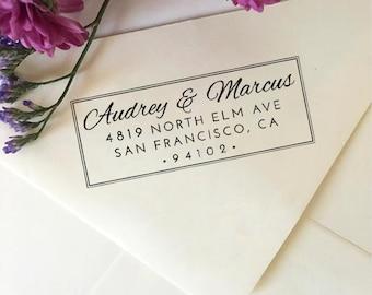 Return Address Stamp, Self Inking Return Address Stamp, Custom Wedding Stamp, Wooden Rubber Stamp, Personalized Wedding Stamp