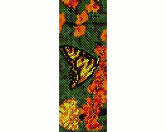 Butterfly on Orange Flowers Peyote Bead Pattern, Bracelet Cuff, Bookmark, Seed Beading Pattern, Delica Size 11 Beads - PDF Instant Download