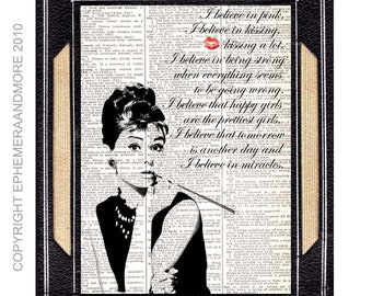 "AUDREY HEPBURN art print wall decor ""I Believe In Pink"" quote ""Breakfast at Tiffanys"" poster vintage dictionary book page black white 8x10"