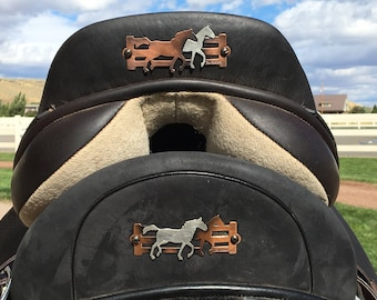 Saddle Plate/Custom/Personalized Silver/Copper Horse Heads/Initials/Saddle Flare/Art/Western/English Saddles/Men/Women Designs/Horse Lovers