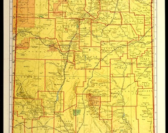Colorful Yellow Vintage New Mexico Map New Mexico Wall Art