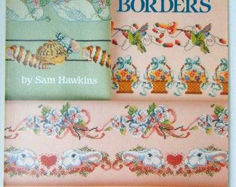 "Counted Cross Stitch ""Bed and Bath Borders"" Towels Bibs Sam HAwkins 1986"