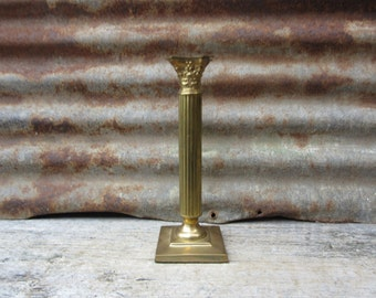 Vintage Single Brass Candle Holder Candlestick Candle Stick Signed Gatco Made in India 10 Inches Height Alter Gothic vtg Candle Stick