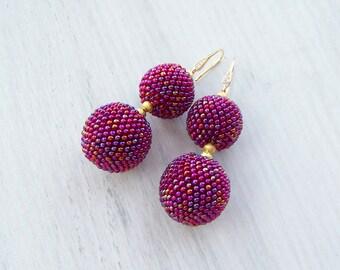 Burgundy Bon Bon Earrings - Les bonbons style earrings - Beaded Two Ball Drop Earrings - Statement Trendy Earrings - Simple dangle earrings