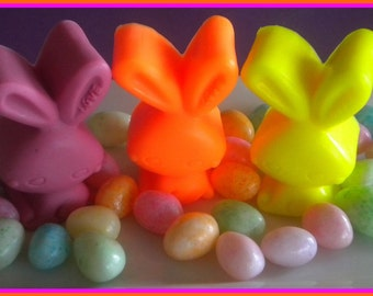 Easter Basket Filler - Soap - Easter Bunny - Rabbit - Set of 3 - Free U.S. Shipping - Pink, Yellow, Orange - Soap for Girls - Easter Soap