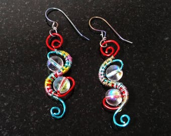 Wire Woven Earrings - Rainbow Wire and Crystal Ball Earrings
