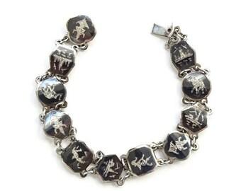 Vintage Siam Sterling Niello Link Bracelet Signed Amfargo