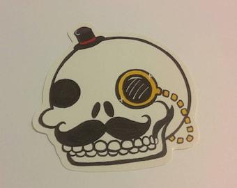 A gentleman and a scholar, skull sticker