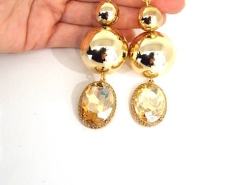 Shiny Gold Bead and Jewelled Drop Statement Earrings