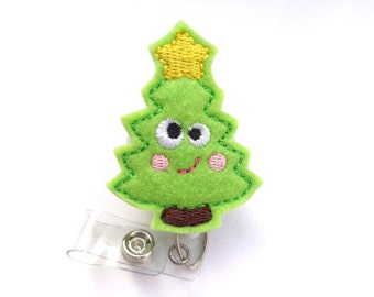 Christmas Badge Reel ID Holder Retractable - Merry merry Christmas Tree - lime green felt - nurse badge holder medical badge reel