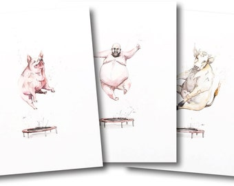 TRAMPOLINE TRILOGY *Limited Edition Giclée Print on Watercolour Paper - 300gsm.