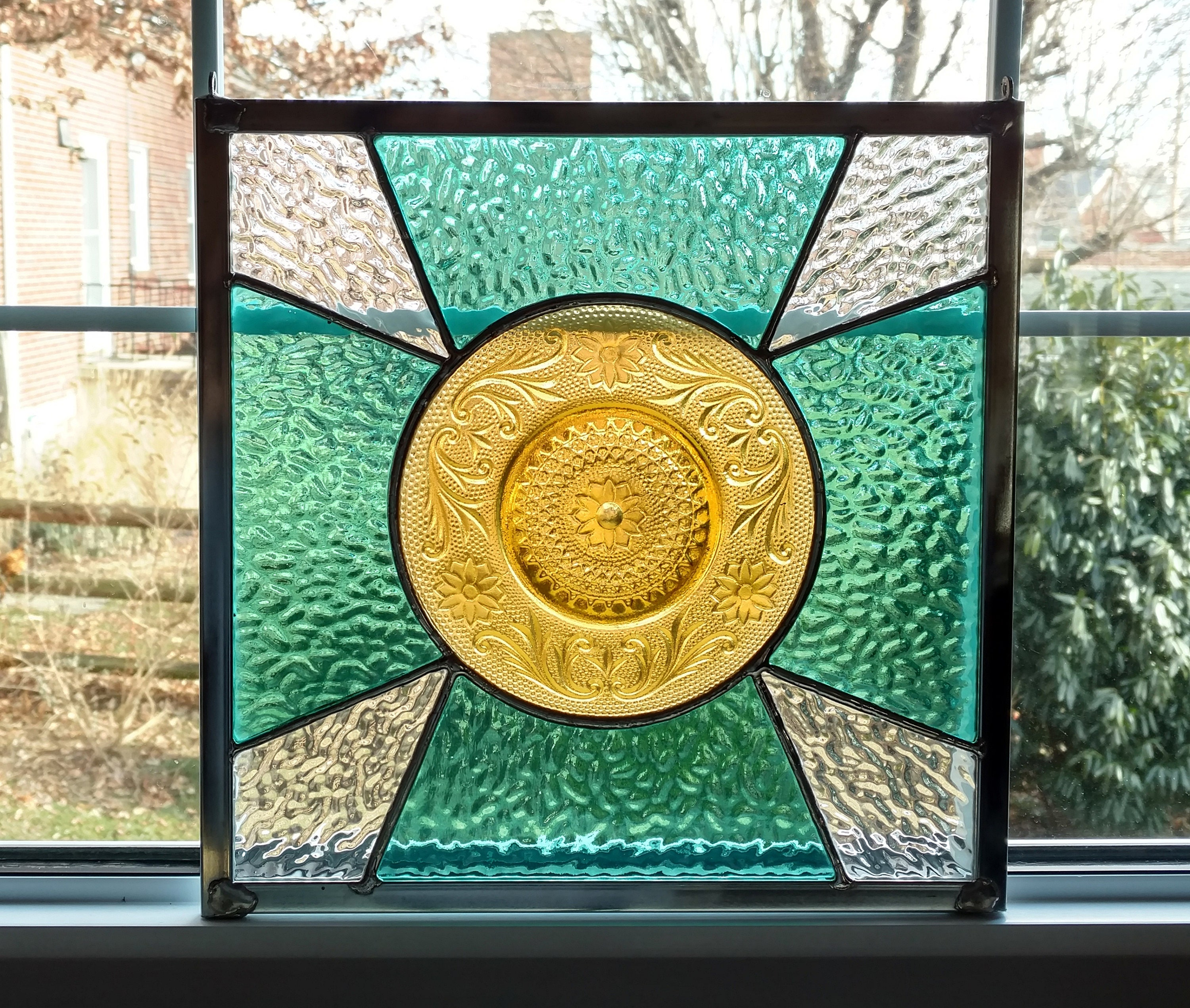 Stained Glass Window Panel with Vintage Plate Blue Yellow