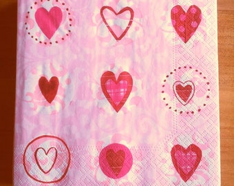 Pack of 20 hearts paper napkins