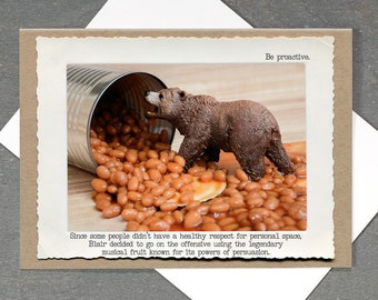 Greeting Card • Funny Bear in Beans • Blank Inside Card • Photo Greeting Card • All Occasion Cards •Humor Gifts • Miniature Animal Card