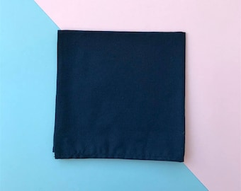 Navy Cotton Pocket Square | Gifts For Him |Groom | Pocket hanky | prom