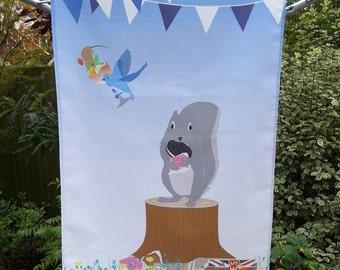 Summer Tea Towel, Cute Animals, Kitchenware, Kitchen Tea Towel, Cute Animal Gift, Picnic Gift, Cute Present, Home ware Gift,