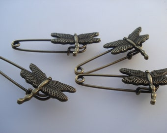 4 Tibetan Style Alloy Brooches, Dragonfly Brooches, 29mm Antique Bronze Brooches, Pack of 4 Brooches, 4-for-3 Brooches, Great Value!! C601