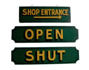 Vintage Wooden Shop Signs, Shop Entrance with Arrow, Open, and Shut, Green Store Signs, Lettered Advertising Signs