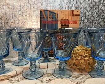 Fostoria Jamestown Blue Stemware/Set of Eleven/Swirl Design