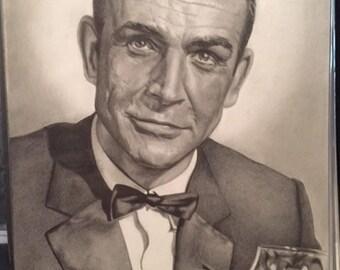 Original Drawing of Sean Connery as James Bond (NOT a print)