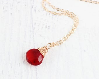 Red Rose Gold Necklace, Apple Red Quartz Necklace, Quartz Gemstone Necklace, Bridesmaid Necklace, Wire Wrap Necklace, Rose Gold Necklace