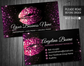 LipSense Business Cards, lipsense card, custom card SeneGence lipsense distributor, marketing LipSense business, Lipsense Business Card #002