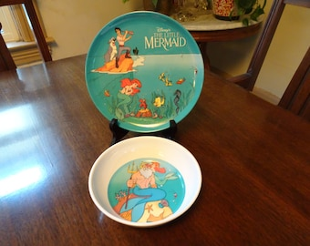Little Mermaid Plate and Bowl, Disney Plate, Disney Bowl, Little Mermaid Plate, Little Mermaid Bowl, Children's Dishes, Disney Dishes, Ariel